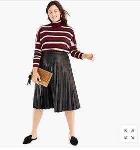 J.Crew Faux leather pleated midi skirt